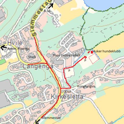 Veibeskrivelse til Asker hundeklubb - Vettre kart